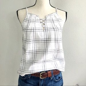 Plaid Lace Up Ruffle Trim Gingham Top